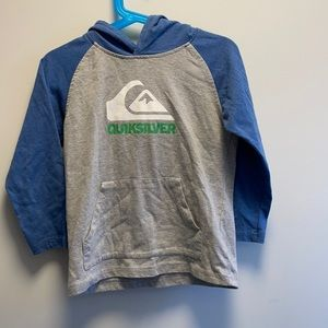 Quicksilver long sleeve with hood gray & blue size 4